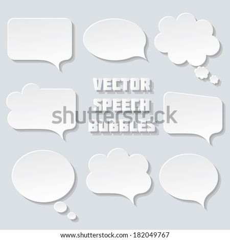 Blank empty white speech bubbles paper collection set isolated on grey background. Raster copy.