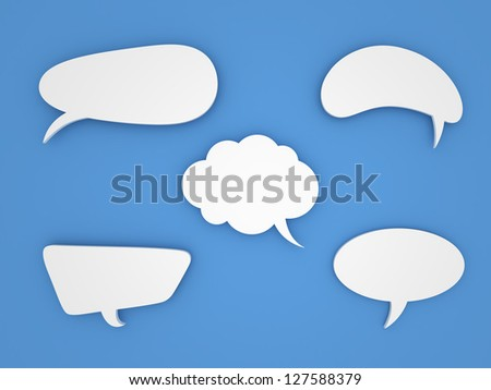 Blank empty white speech bubbles template for your messages on blue background. - stock photo