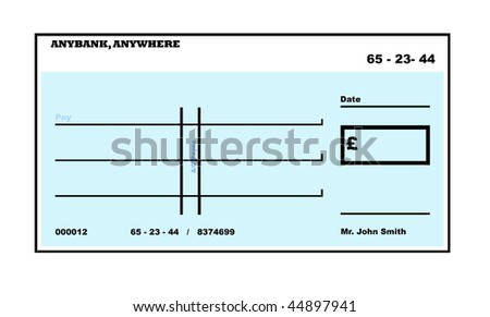 Blank English Check illustration with copy space, isolated on white background.