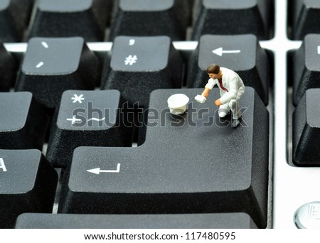 Blank enter return key on keyboard with workman and copy space