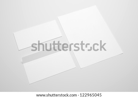 Blank Envelopes and document on neutral background