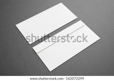 Blank envelopes on dark background. Front and back side. #162072299