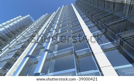 blank facade of glass office building with reflections and blank interior