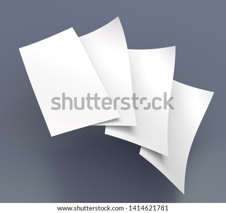 Blank Fan Of Curved Flyers, Leaflets. Bending DL Size Cards Mock-up. 3D render