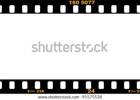 Blank film strip, with empty white space for designers