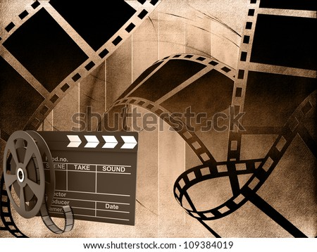 Blank film strip with movie clapper