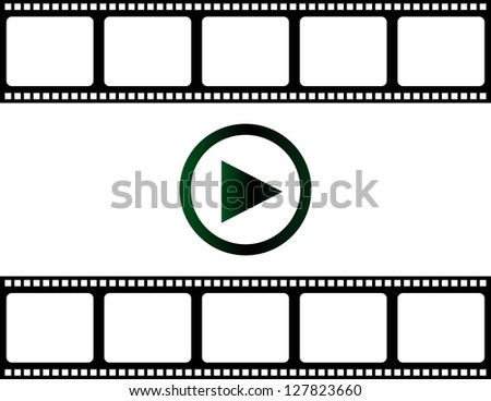 blank film strip with play button, raster