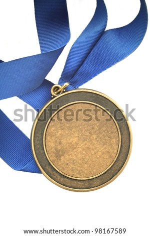 blank first place gold medal blue ribbon champion award with room for your text or title isolated on white background with copyspace