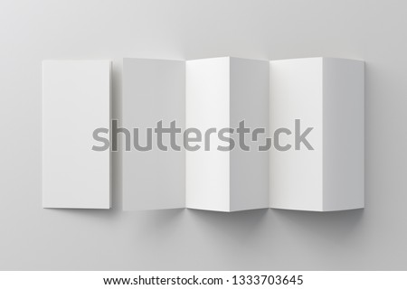 Blank five fold, ten pages brochure booklet on white background with clipping path around accordion or zigzag folded and unfolded brochures. 3D illustration