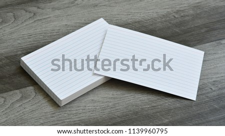 Blank Flash Index Note Cards on Dark Grey Wood Background