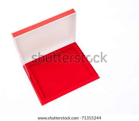 Blank flat opened red box isolated on white. Top view.