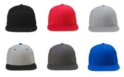 Blank flat snap back hat 6 set on white background