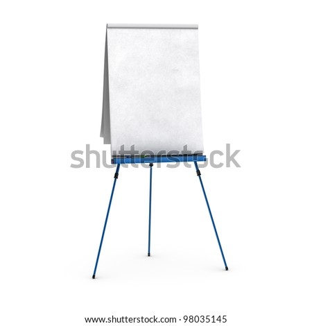 blank flip chart over white background view of the front side, with red, blue, and green pens, small shadows at the bottom