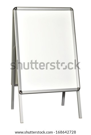 Blank Flipchart, sidewalk signboard or sign isolated on white background. Blank white metallic outdoor stand mockup packaging template mockup collection with clipping path
