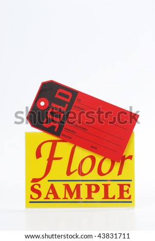 blank floor sample sale and sold sign
