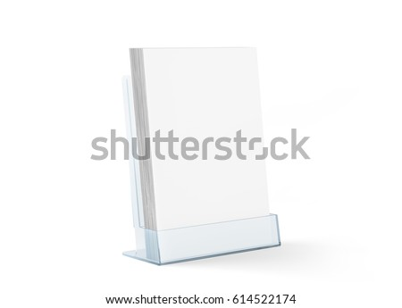 Blank flyer mockup glass plastic transparent holder isolated, 3d rendering. Plain flier stand in plexiglass tray. Clear brochure holding in acrylic pocket. Empty booklet mock up design presentation.