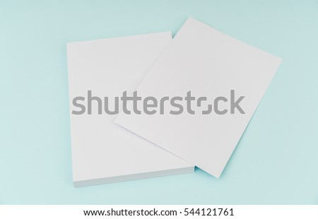 Blank flyer poster, brochure mockup,A4, US-Letter, on blue background #544121761