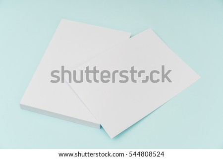 Blank flyer poster, brochure mockup,A4, US-Letter, on blue background #544808524