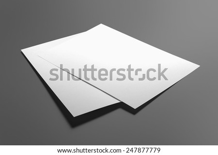 Blank flyer poster isolated on grey to replace your design #247877779