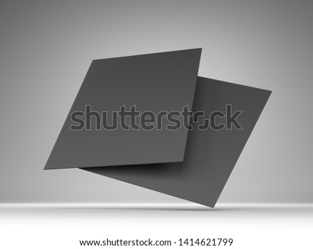 Blank Flyers, Leaflets. Hovering Sheets Of Papers. Two Black Cards Template. 3D render