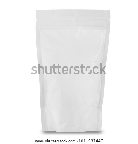 blank foil packaging isolated on white, empty package for food and snack #1011937447