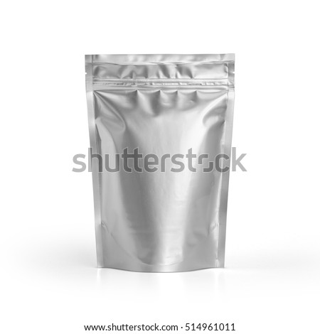 Blank Foil plastic pouch coffee bag isolated on white background. Packaging template mockup collection. With clipping Path included. Aluminium coffee package.