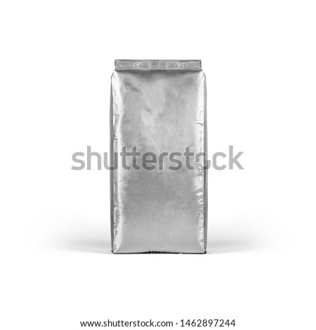 Blank Foil vacuum sealed coffee bag isolated on white background. Packaging template mockup collection. Aluminium coffee pack. Stand up Front view Package #1462897244