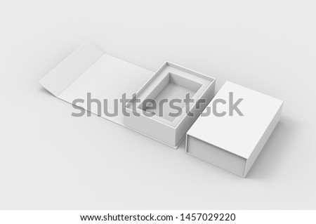 BLANK FOLDING BOX WITH MAGNET CLOSURE FOR BRANDING. 3D RENDER ILLUSTRATION.