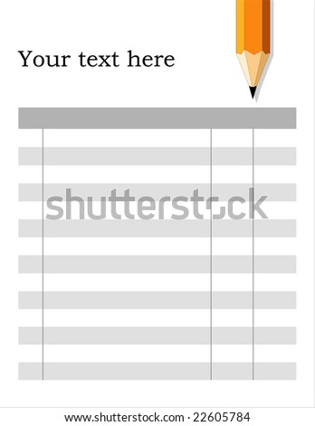 Blank Form with pencil, fill in, ready to use, white background. Copy space for home, school, office & do it yourself projects.