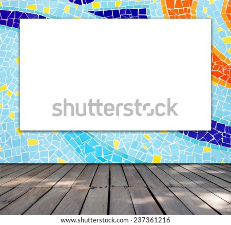 Blank frame on mosaic tile for information message