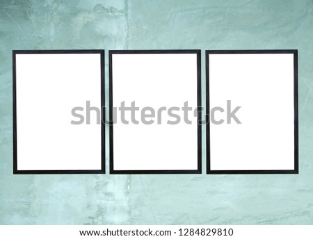Blank Frames For Posters, Pictures, Arts, Drawings And Print Templates, Mock Up Template On Wall Background, 3D Illustration Ready For Your Design  #1284829810