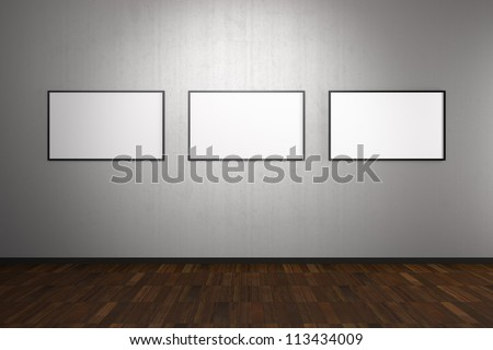 Blank Frames in Art Gallery with Clipping Path in the Frames