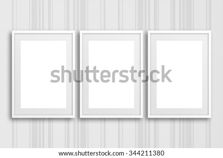 Blank frames on striped wall, poster,  interior decor mockup