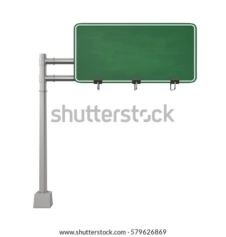 Blank Freeway Sign. 3D rendering