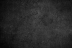 Blank front Real black chalkboard background texture in college concept kid for back to school kid gray wallpaper for create white chalk text draw graphic. Grunge wall education blackboard.