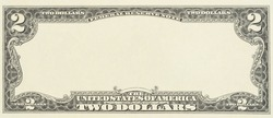 Blank front sample of US two dollar banknote with full empty middle area. Blank obverse side two dollar bill for design purposes. Mockup for your picture and text.