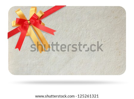Blank gift card tied with a bow of red ribbon. Isolated on white, with save paths for design work