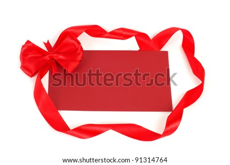 Blank gift tag tied with a bow