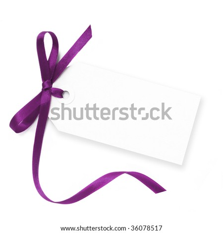 Blank gift tag tied with a bow of purple satin ribbon.  Isolated on white, with soft shadow. - stock photo