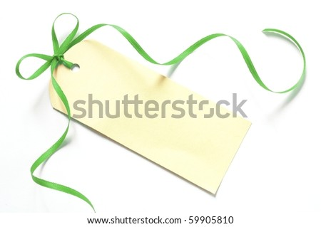 blank gift tag with a ribbon isolated on white background - stock photo
