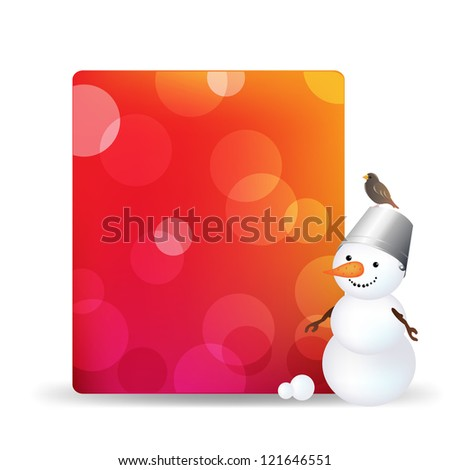 Blank Gift Tag With Snowman And Bird, Isolated On White Background