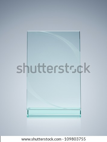 Shutterstock Blank glass award over gray background with copy space