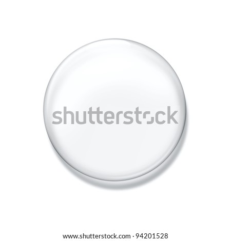 Blank glass badge isolated on white background