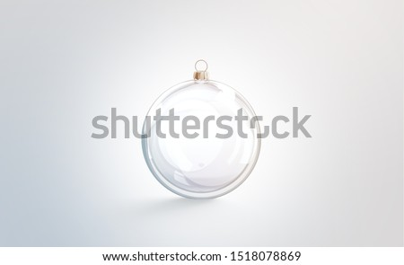 Blank glass christmas ball for tree mock up, isolated, 3d rendering. Empty new year toy for hanging on pine mock up, front view. Clear glassy xmas bauble template.