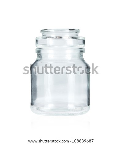 Blank glass jar isolated on white background
