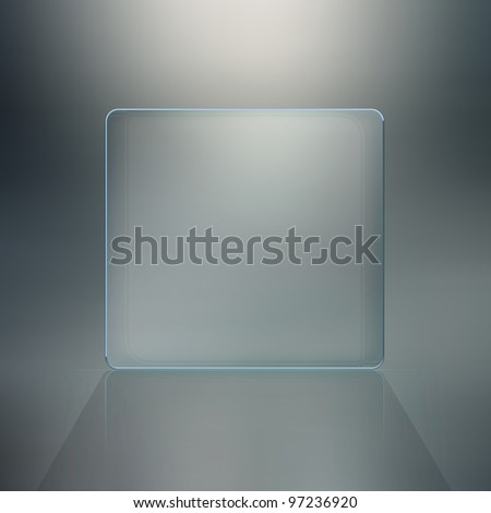 Blank glass plate background. Futuristic screen with copy space