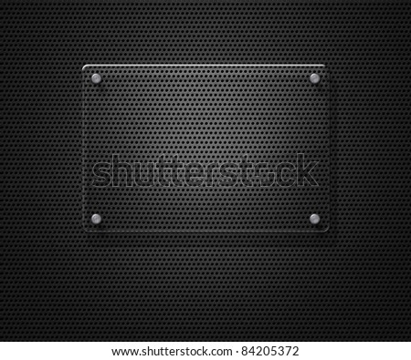 Blank glass plate over metal mesh with copy space