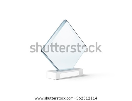 Blank glass trophy mockup stand on clear marble base, 3d rendering. Empty acrylic award design mock up. Transparent crystal prize plate template. First place prise plaque, isolated on white