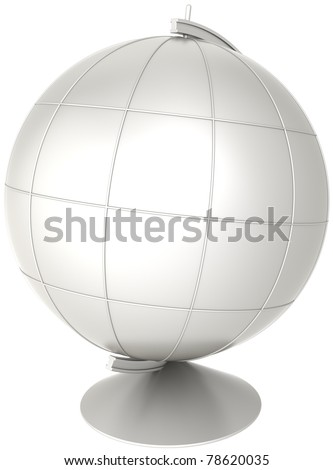 Blank globe desktop Earth planet with meridians colored grey. Geography education symbol classic. This is a detailed CG image 3D render. Isolated on white background