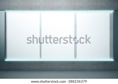 Blank glowing posters on the wall, mock up, 3D Render